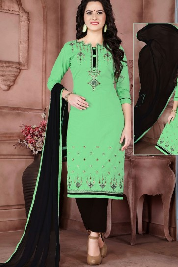 Green Cambric Cotton Salwar Kameez