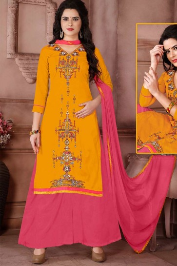 Yellow Cambric Cotton palazzo Suit