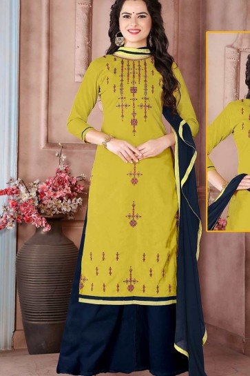 Pear Green Cambric Cotton palazzo Suit