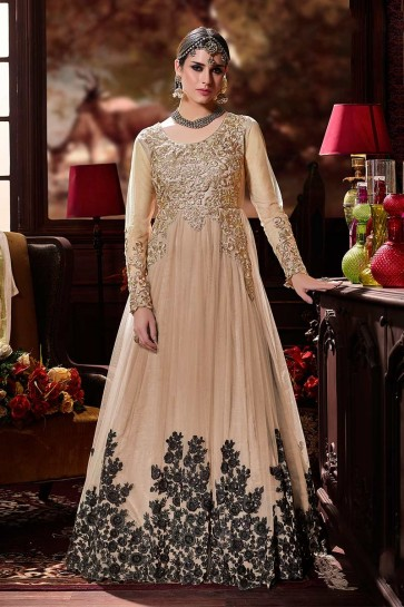 Beige color Net Anarkali Suit