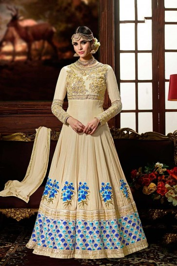 Cream color Crepe Silk Anarkali Suit