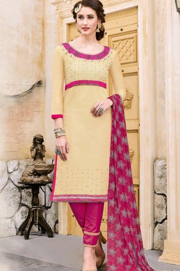 Cream color Modal Cotton Churidar Suit