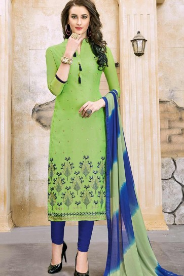 Green color Modal Cotton Churidar Suit