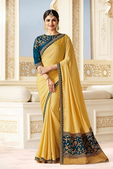 Yellow color Silk Saree