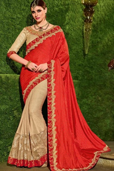 Orange & Beige color Art Silk & Lycra Saree