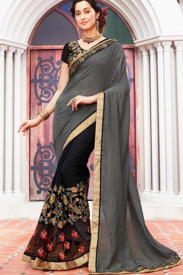 Grey , Black color Self Jacquard , Georgette Saree