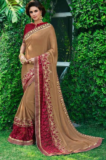 Light Brown color Chiffon Saree