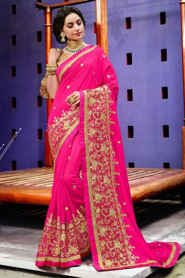Fuschia Pink color Art Silk Saree