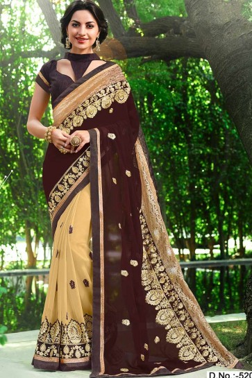 Brown & Beige color Georgette Saree