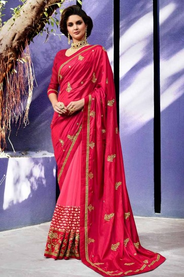 Dark Pink color Art Silk & Georgette Saree