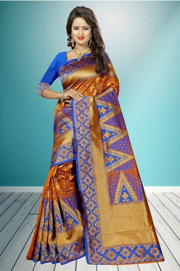 Orange & Blue color Banarasi Art Silk Saree