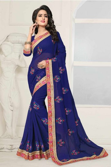 Blue color Georgette Saree
