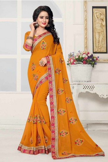 Musturd Yellow color Georgette Saree