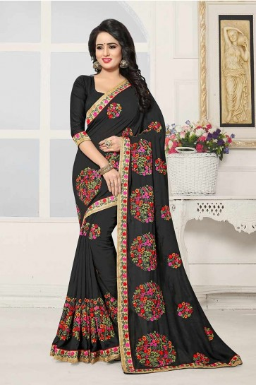 Black color Art Silk Saree