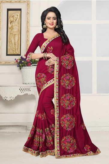 Magenta Pink color Art Silk Saree