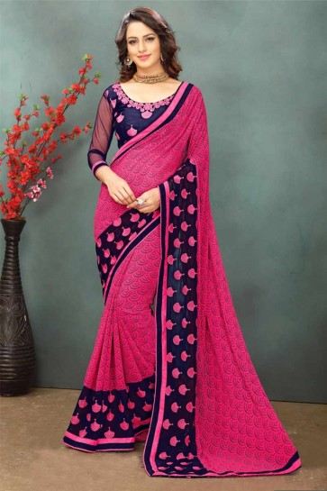 Dark Pink color Georgette Saree