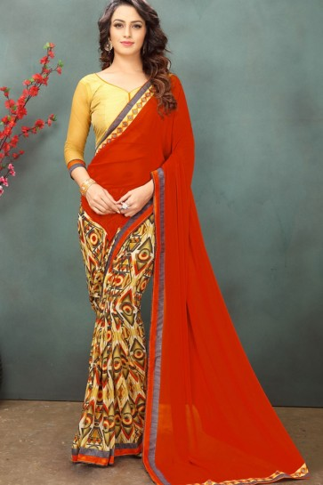 Red & Yellow color Georgette Saree
