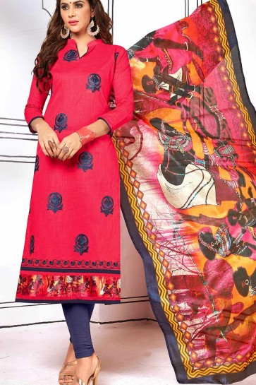 Dark Pink color Cotton Churidar Suit