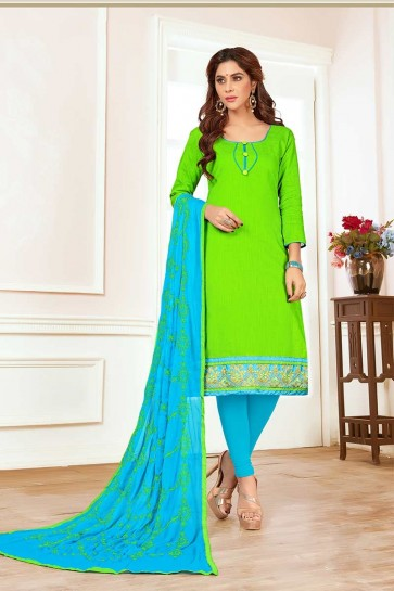 Light Green color Cotton Churidar Suit
