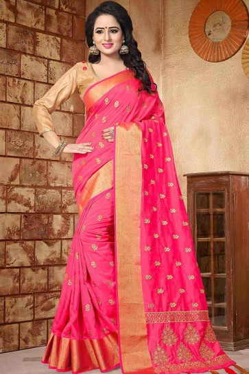 Fuschia Pink color Soft Silk saree