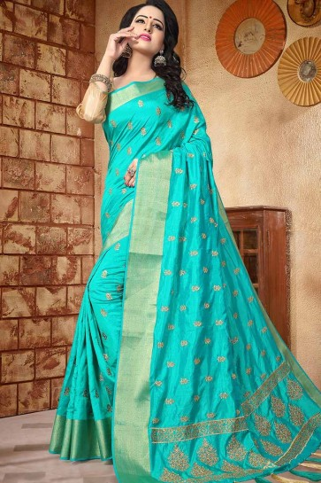 Turquoise Blue color Soft Silk saree
