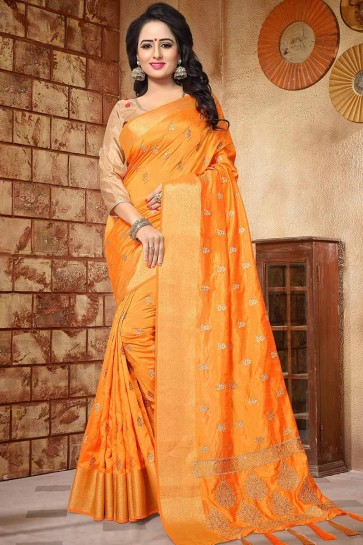 Musturd Yellow color Soft Silk saree