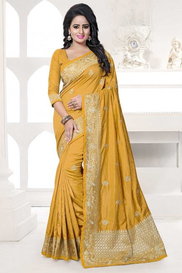 Musturd Yellow color Art Silk saree