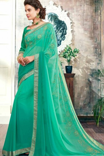Sea Green color Georgette saree