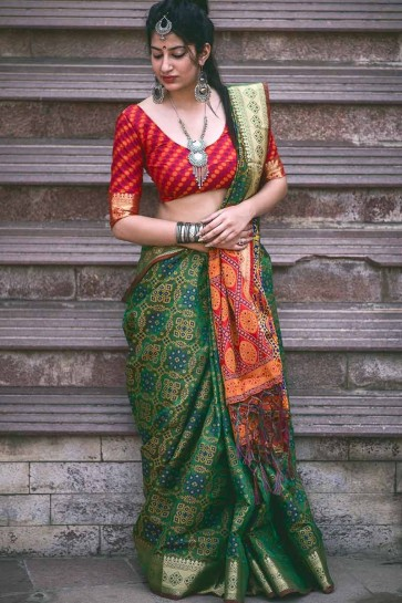 Dark Green color Jacquard Silk saree