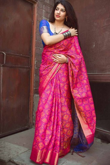 Fuschia Pink color Jacquard Silk saree