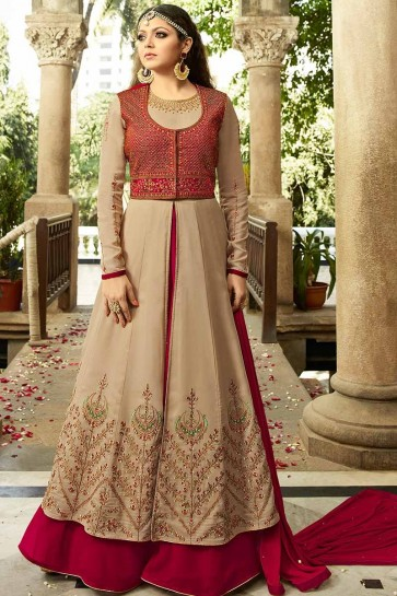 Beige & Maroon color Georgette Anarkali Suit