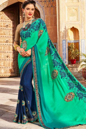 Sea Green & Navy Blue color Georgette & Silk saree