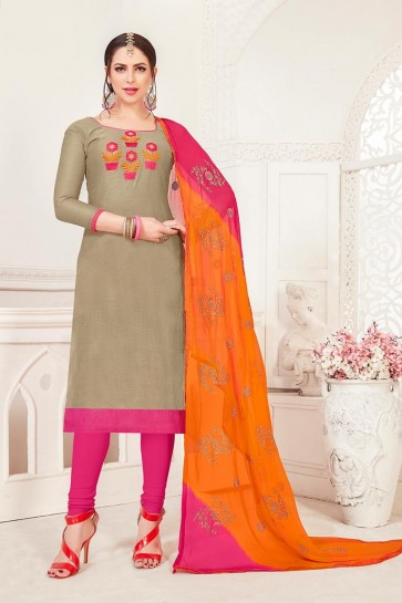 Grey Art Silk Churidar Suit