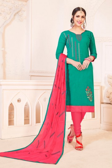 Sea Green South Cotton Churidar Suit