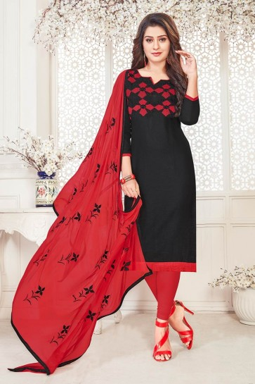 Black South Cotton Churidar Suit