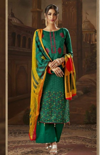 Pine Green Cotton Palazzo Suit