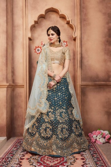Teal blue Art silk Lehenga Choli