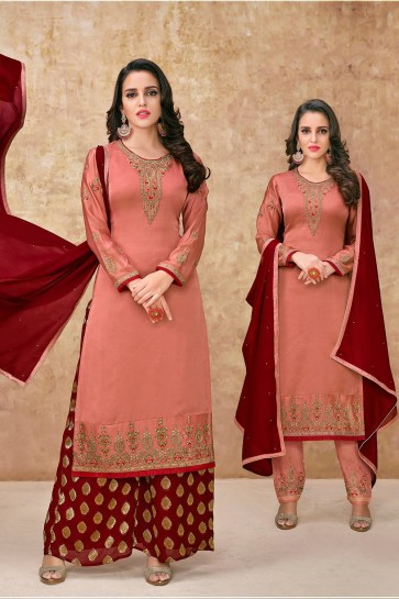 Dark peach Georgette and satin Palazzo Suits