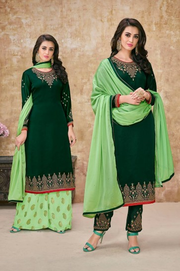 Dark green Georgette and satin Palazzo Suits