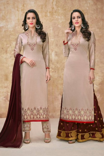 Sand grey Georgette and satin Palazzo Suits
