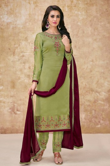 Light green Georgette and satin Palazzo Suits