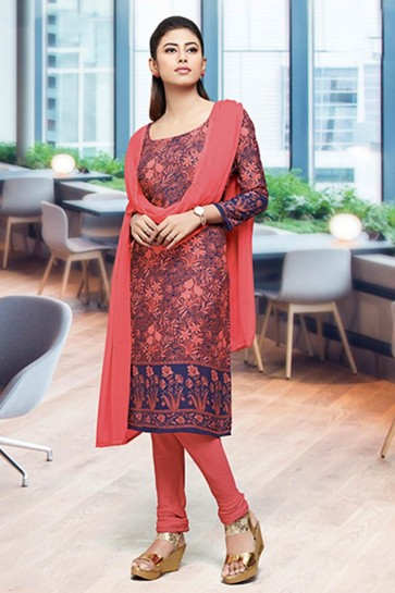 Blue,pink Crepe and silk Churidar Suits
