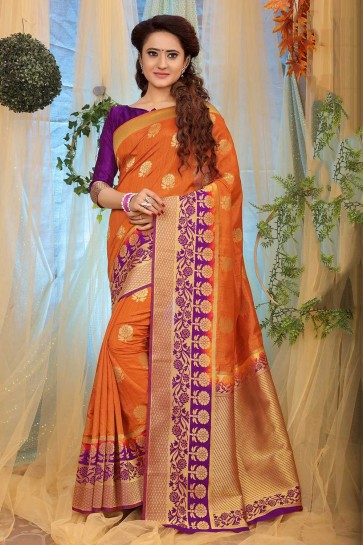 Orange Jacquard and silk  saree