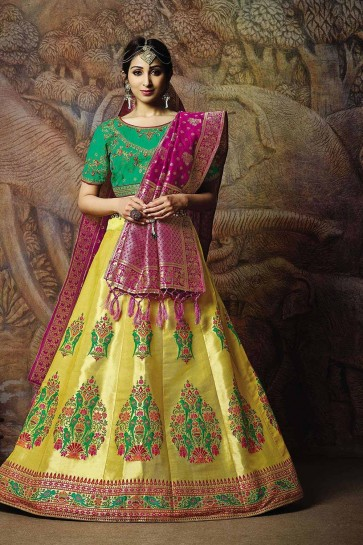Yellow Jacquard and silk Lehenga Choli