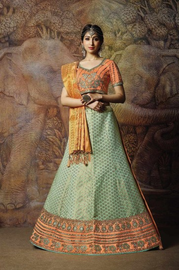 Aqua blue Jacquard and silk Lehenga Choli