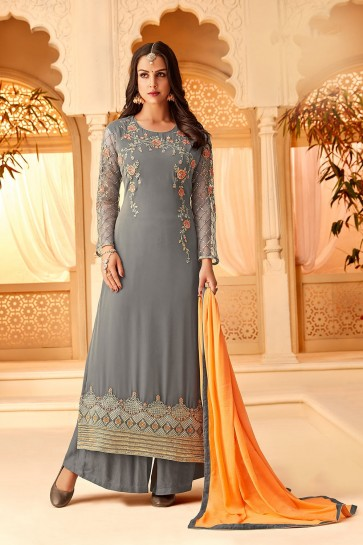 Dark grey Georgette Palazzo Suits