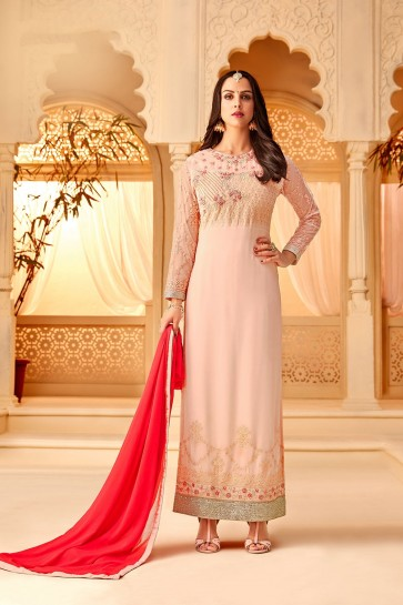Baby pink Georgette Palazzo Suits