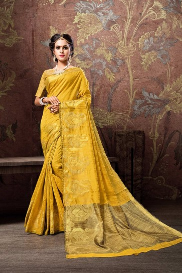 Yellow Cotton and silk saree