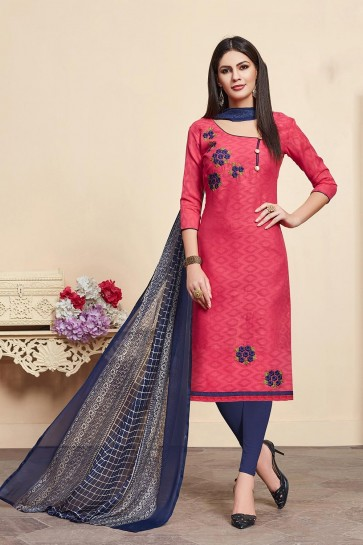 Red Cotton,jacquard and silk Churidar Suits