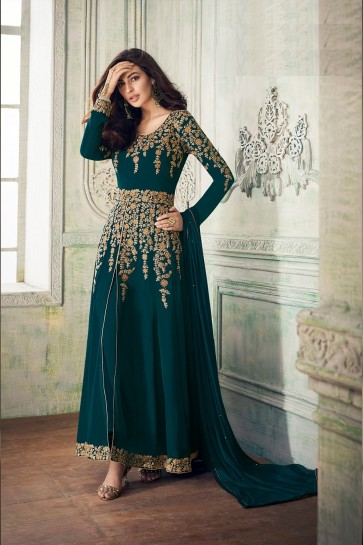 Peacock blue Georgette Anarkali Suits